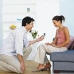 beautiful  propose in home on knee